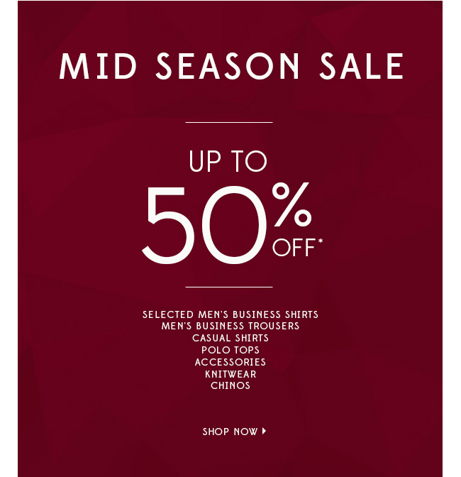 Save up to 50% OFF on selected styles mid season sale at Van Heusen.
