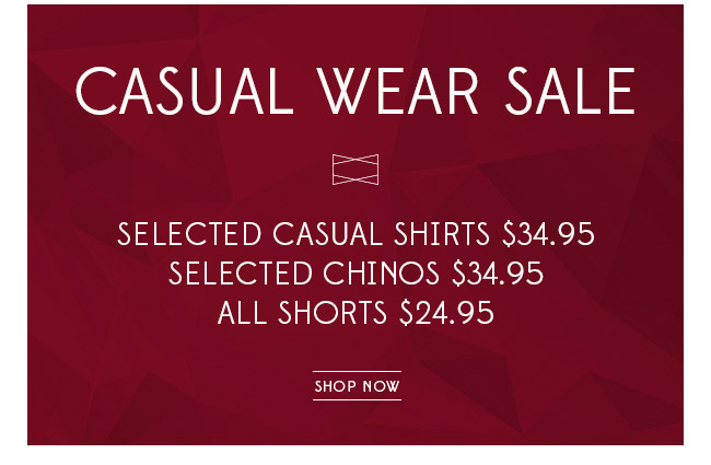 Casual wear clearance sale at Van Heusen.